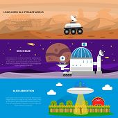 Cosmos horizontal banner set with alien abduction elements isolated vector illustration poster