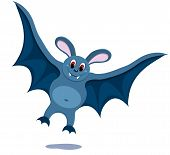 The cartoon smiling bat. On the white. Vector illustration. poster