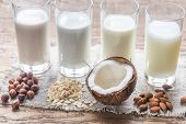 Different Types Of Non-dairy Milk On The Wooden Background poster