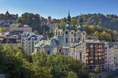 View of Karlovy Vary with Church of St. Mary Magdalene Czech republic poster