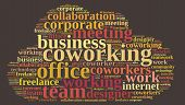 Illustration with word cloud with the word coworking. poster