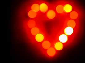 Glowing orange heart