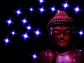 Red Buddha with Blue Stars
