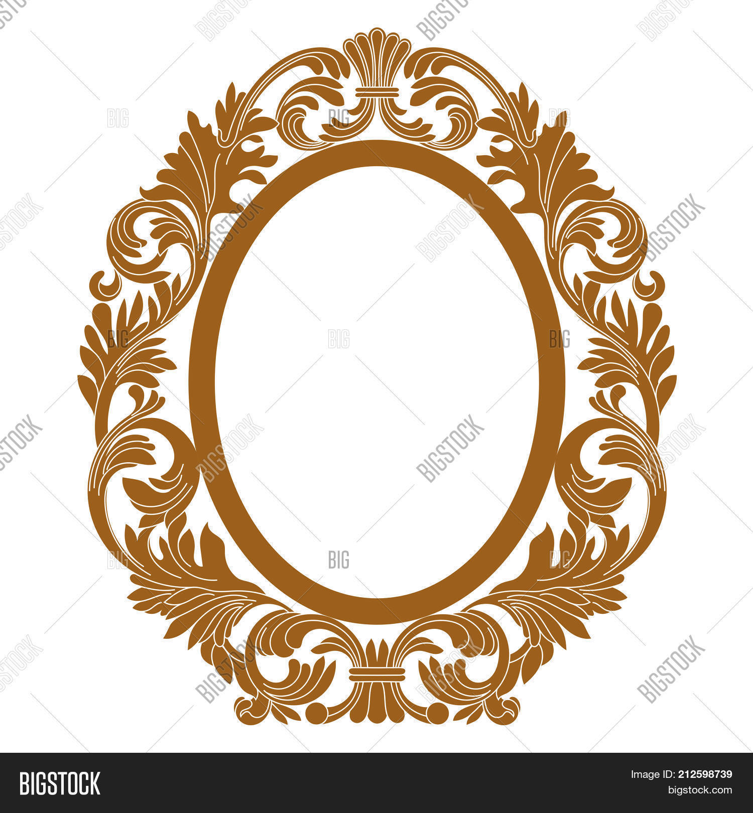 Golden Vintage Oval Pattern Frame Border Engraving