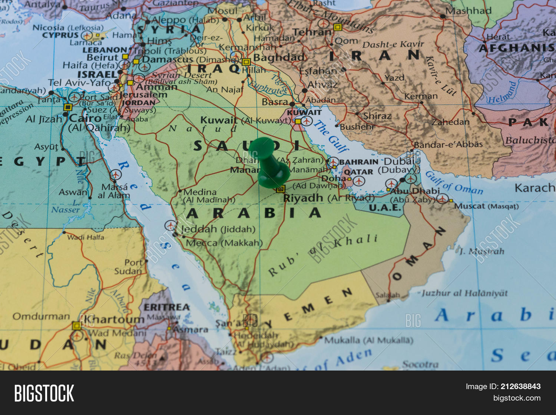 Riyadh Pinned On Map Saudi Arabia Image Photo Bigstock