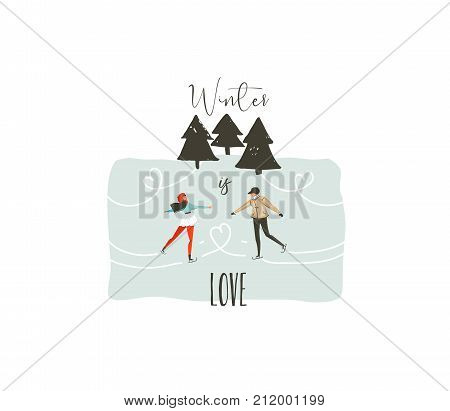 Hand drawn vector abstract fun Merry Christmas time cartoon illustration with young couple who skating in frozen forest and xmas modern calligraphy Winter is love isolated on white background.
