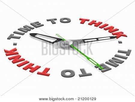 time to think for finding a solution and answer to a difficult question. Red text with clock. Hour for self reflection.