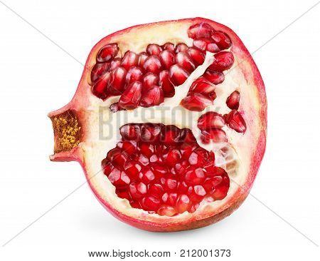 Pomegranate isolated on white background Nature, Garden, Leaf, Plant, Healthy, Raw, Piece, Food,