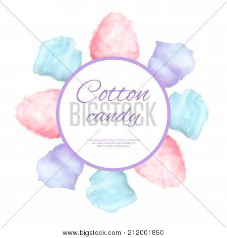 Cotton candy round button surrounded by sweet sugar glass candies on stick vector illustration with place for your text isolated on white