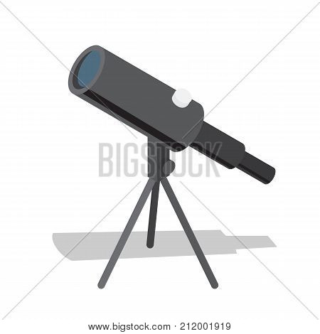Telescope optical instrument that aids in observation of remote objects as stars, vector illustration isolated on white. Spy-glass icon with shadow