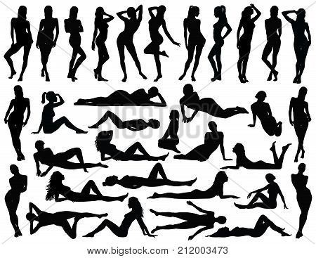 Big set of many black vector silhouettes of women in bikini in different standing lying and sitting poses.