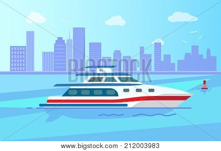 Luxurious yacht with spacious cabin out in sea near big city with high skyscrapers vector illustration. Expensive vessel for short distance trips.