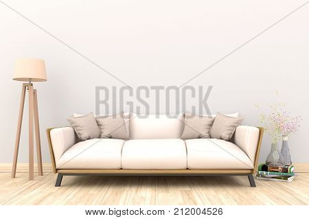 Minimal white living room interior with green fabric sofa, lamp, cabinet and plants on empty white wall background.3d rendering.