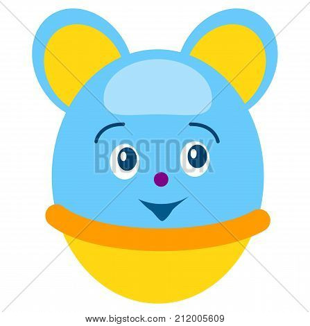 Funny round blue mouse tumbler with happy face, yellow bottom and big ears isolated vector illustration on white background.