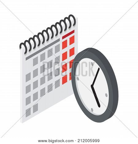 Flip calendar and wall clock icons vector illustrations isolated on white. Time counting objects, electronic watch and paper timekeeper in flat design