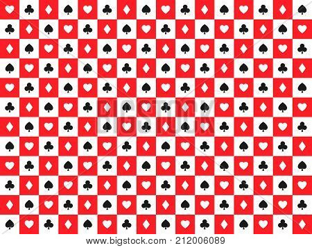 Seamless abstract vector poker background with playing cards signs white and black symbols on white and red squares casino symbols