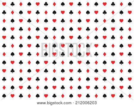Playing card signs seamless pattern casino background hearts clubs diamonds and spades vector icons and symbols