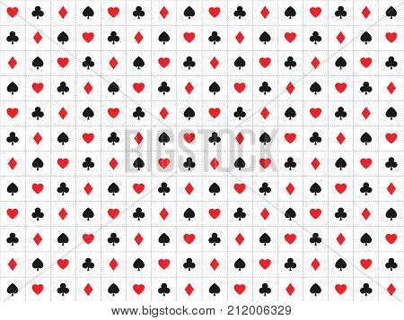 Playing card signs seamless pattern casino background with dashedlines hearts clubs diamonds and spades vector icons and symbols