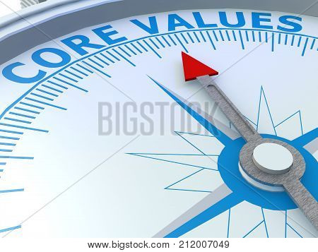 Core Values Word On Compass Isolated
