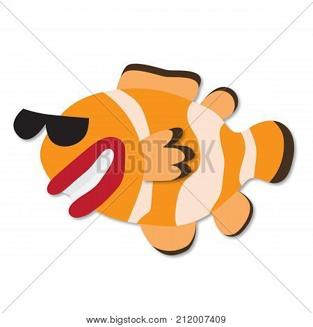Funny hand drawn cartoon clown fish. Paper art style. Vector 3d. Smiling clown fish in sun glasses isolated on white. Clown fish grotesque or caricature