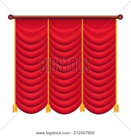 Heavy drape of red fabric with gold tie back rope and tassels vector isolated on white. Classic curtain in victorian style on cornice illustration for window dressing and interior design concepts