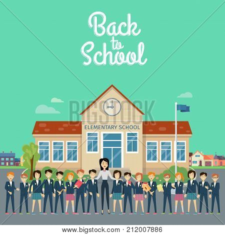 Back to school banner. Teacher with pupils on school yard. Young teacher with pupils. Education. World Book Day. Awareness professor with appreciated students. Education concept. Vector illustration.