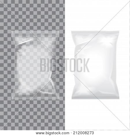 Set of transparent and white foil bag packaging for food, snack, coffee, cocoa, sweets, crackers, nuts, chips. Vector plastic pack mock up for your design