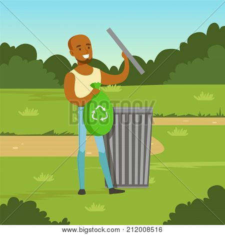 Flat black man character throwing garbage into different containers in city park. Ecological lifestyle concept. Waste sorting and segregation. Ecologically clean world. Vector background for poster