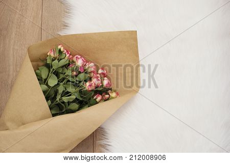 Large Luxury Bouquet Of Roses On A Fur Carpet