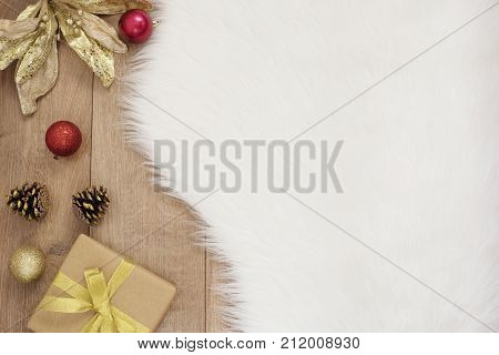 Merry Christmas. Winter Holidays Concept - Cozy Home, Balls, Gift, Cones. Golden Theme
