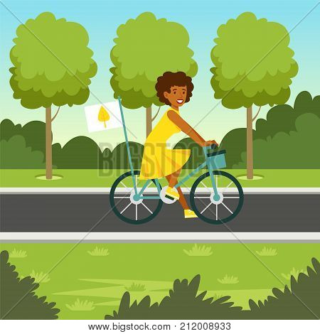 Happy woman in yellow dress riding a bicycle with flag. Ecological lifestyle concept. Eco people actions. Green environment. Ecology life. Vector nature background, poster or card design template.