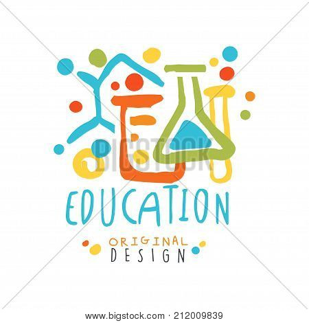 Abstract educational label with chemical test tubes and flasks. Education logo original design for educational center, learning business. Back to school emblem. Flat vector isolated on white.