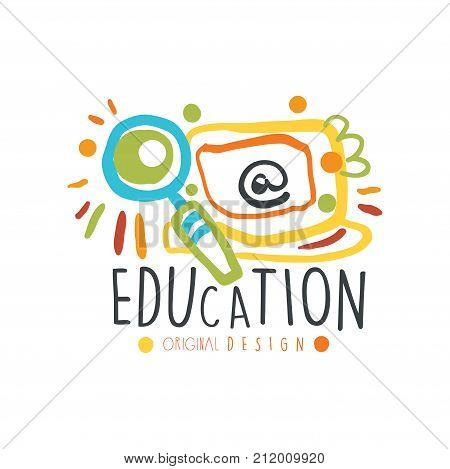 Abstract education day label concept. Educational logo original design for educational center, learning business, school or studying class. Back to school emblem. Flat vector isolated on white.