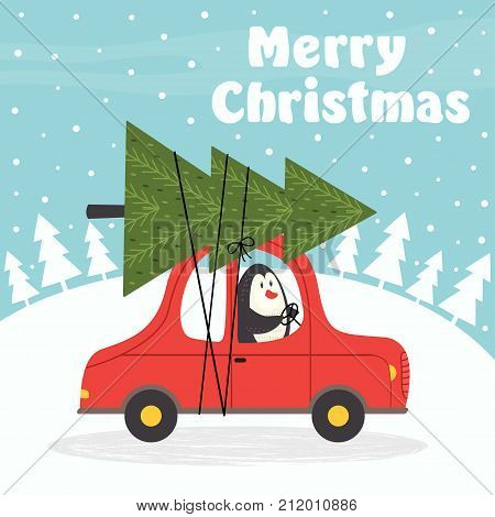 Merry Christmas card with penguin in car - vector illustration, eps