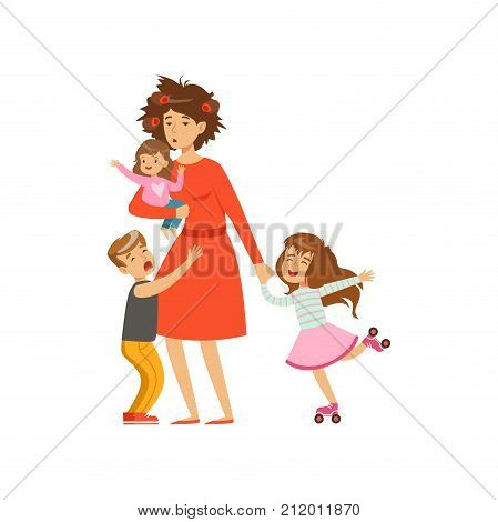 Flat vector illustration of tired mother with crazy hair and her kids, son and two daughters. Family action. Reality of motherhood routine. Cartoon woman, boy, and girls characters isolated on white.
