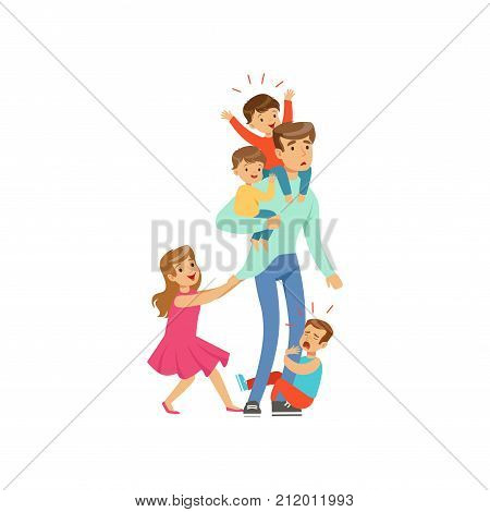 Flat vector illustration of exhausted dad standing with his four little naughty kids, three sons and daughter isolated on white. Family action. Reality of fatherhood. Father spends time with children.