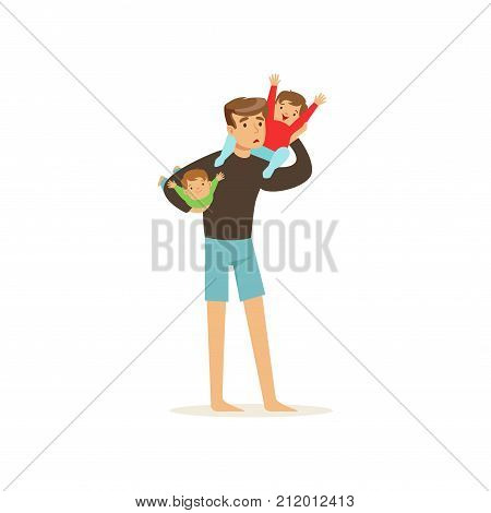 Exhausted father holding two little cheerful kids. Family action. Reality of fatherhood routine. Cartoon man and boys characters isolated on white background. Vector illustration in flat style.
