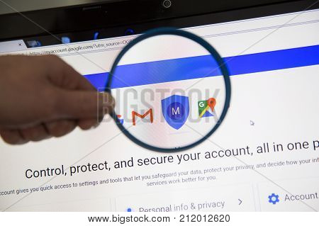 Paris, France - October 19, 2017 : Icon Safeguard Your Privacy Data On Google Magnified With Magnify