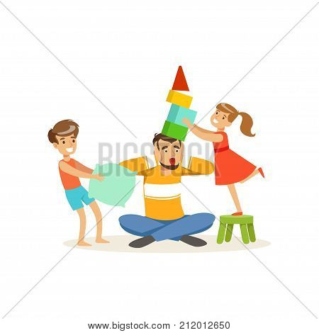 Flat vector illustration of terrified dad and his hyper active kids. Fatherhood routine. Cartoon man, girl and boy characters isolated on white. Father spends time with children. Family action.