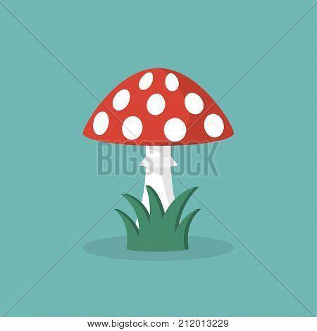 Amanita poisonous mushroom. Vector illustration flat design. Isolated on background. Red mushroom with white dots. Toxic poisoned food.