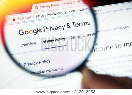 Paris, France - October 19, 2017 : Burning Concept Of Privacy Terms On Google Website Magnified With