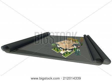 Architectural design creative work 3D illustration. Architectural drawings, 3d architectural model, building, house, home, white background. Collection.