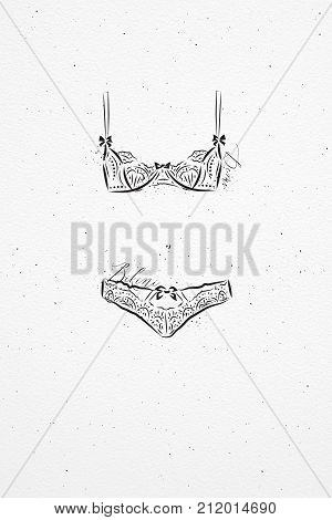 Underwear fashion bikini drawing in vintage style on watercolor paper background