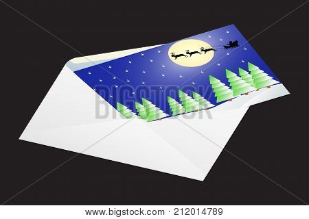 Christmas card in an envelope. Vector illustration.