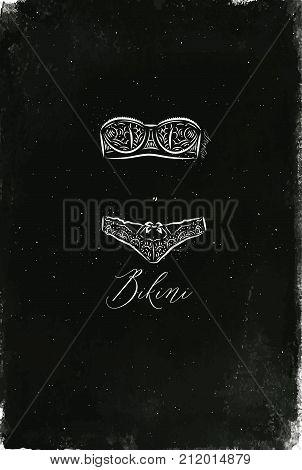 Underwear fashion bikini in vintage style drawing with chalk on chalkboard