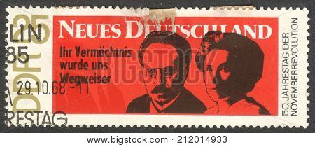 MOSCOW RUSSIA - CIRCA OCTOBER 2017: a post stamp printed in DDR shows Karl Liebknecht and Rosa Luxemburg the series