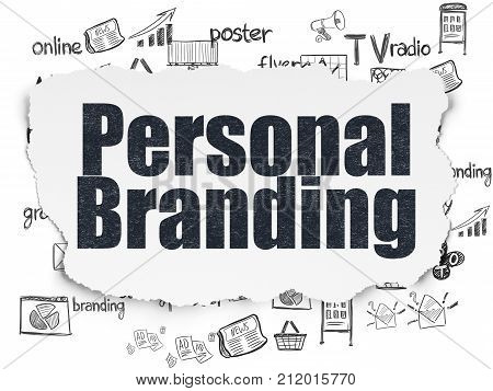 Marketing concept: Painted black text Personal Branding on Torn Paper background with  Hand Drawn Marketing Icons
