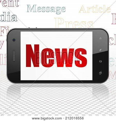News concept: Smartphone with  red text News on display,  Tag Cloud background, 3D rendering