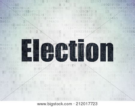 Politics concept: Painted black word Election on Digital Data Paper background