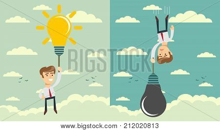 man with idea bulb as balloon . Set. Business competition concept. Stock flat vector illustration.